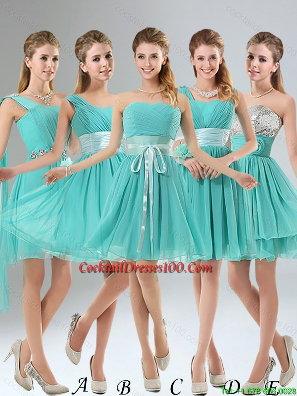 2015 A Line Ruching Lace Up Elegant Cocktail Dress in Aqua Blue