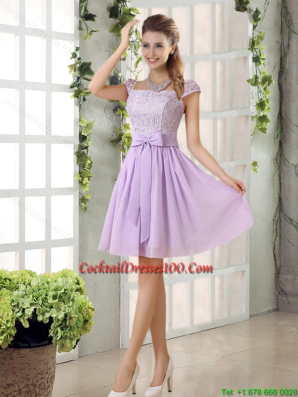 2015 Chiffon Elegant Cocktail Dress with Ruching Bowknot