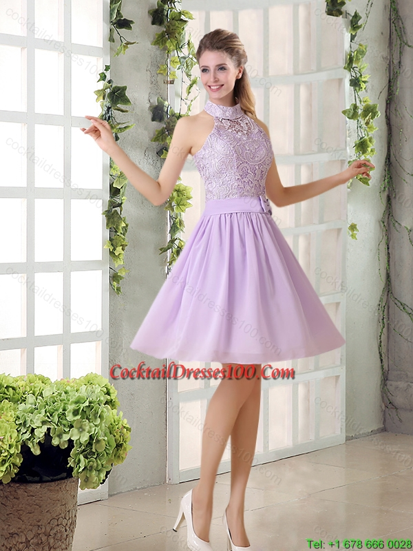 High Neck Lilac A Line Lace Chic Cocktail Dresses Chiffon for 2015
