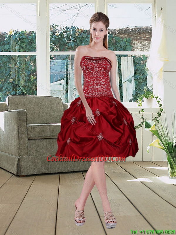 Wine Red Pretty Strapless 2015 Charming Cocktail Dresses with Embroidery