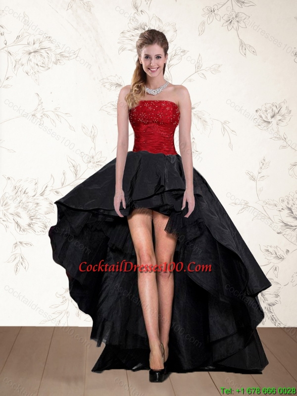 High Low Strapless Beaded Fairy Cocktail Dresses in Red and Black