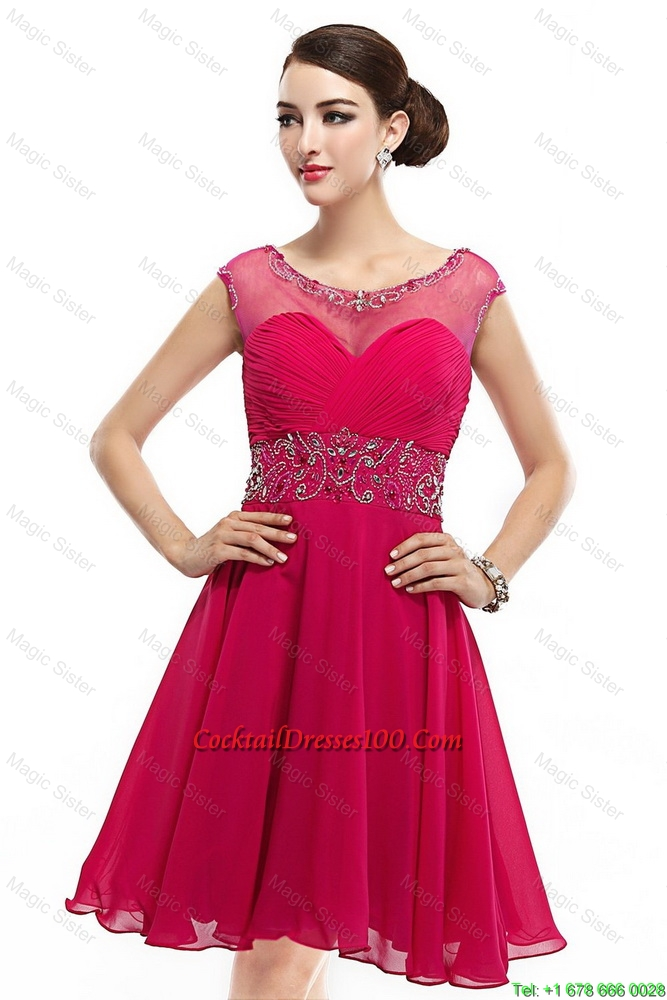 Mini Length Scoop Hot Pink Cocktail Dresses with Cap Sleeves