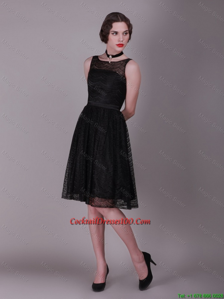 Best Selling 2016 Bateau Belt Laced Cocktail Gowns in Black