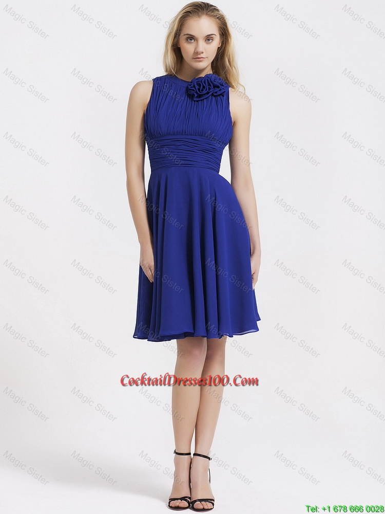 Fashionable Short Royal Blue Cocktail Dresses with Hand Made Flowers