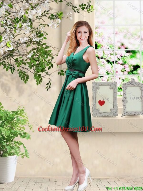 Wonderful V Neck Bowknot Hunter Green cocktail Dresses with Knee ...