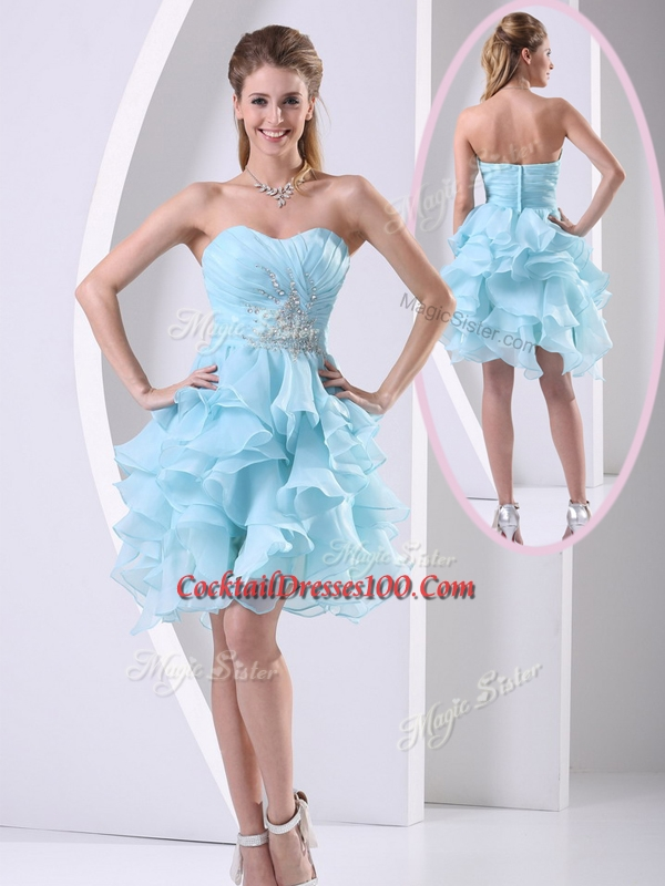 2016 Beautiful Sweetheart Light Blue Cocktail Dresses Prom Dress with Beading and Ruffles