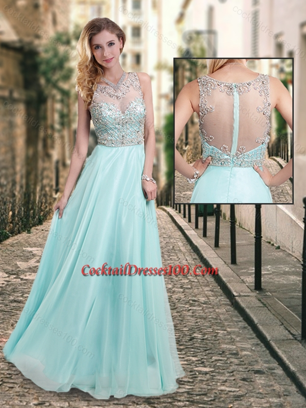 Latest See Through Scoop Beaded Cocktail Dress in Aqua Blue