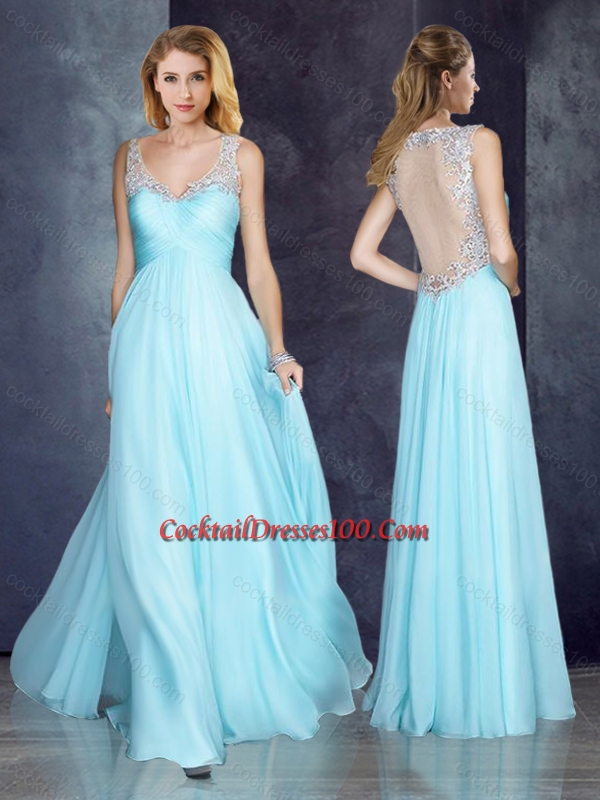 V Neck Applique Light Blue Cocktail Dress with See Through Back