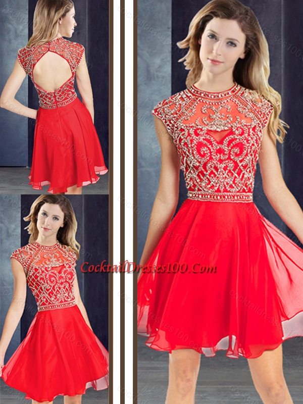 Sexy Scoop Beaded Red Short Cocktail Dress with Cap Sleeves