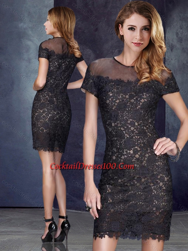 Elegant Column Scoop Short Sleeves Black Women Cocktail Dress in Lace