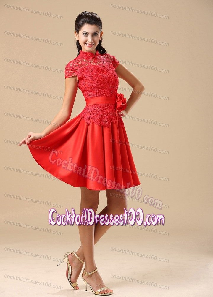 Cocktail Dresses For Fall Wedding 2014 Lace Cocktail Dress in Red