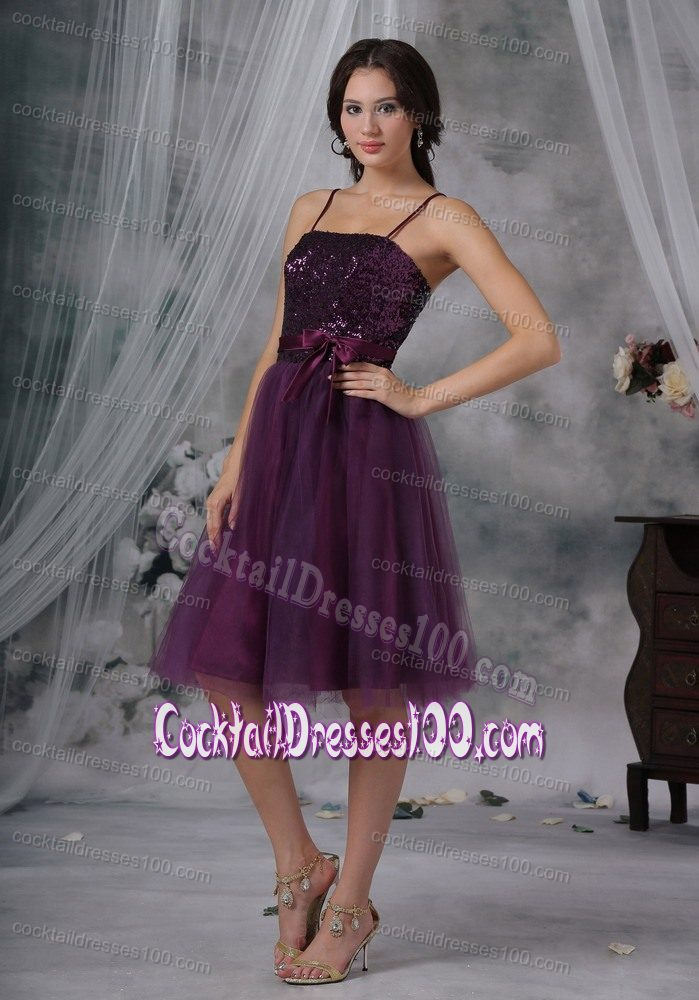 Dark Purple Sequins and Tulle Fabric Cocktail Dress with Sash and Straps