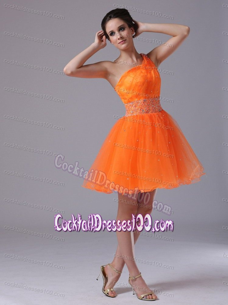 One Shoulder Puffy Short Skirt Orange Cocktail Dress with Beadings