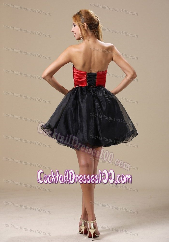 cheap black and red beaded strapless cocktail dresses 2012