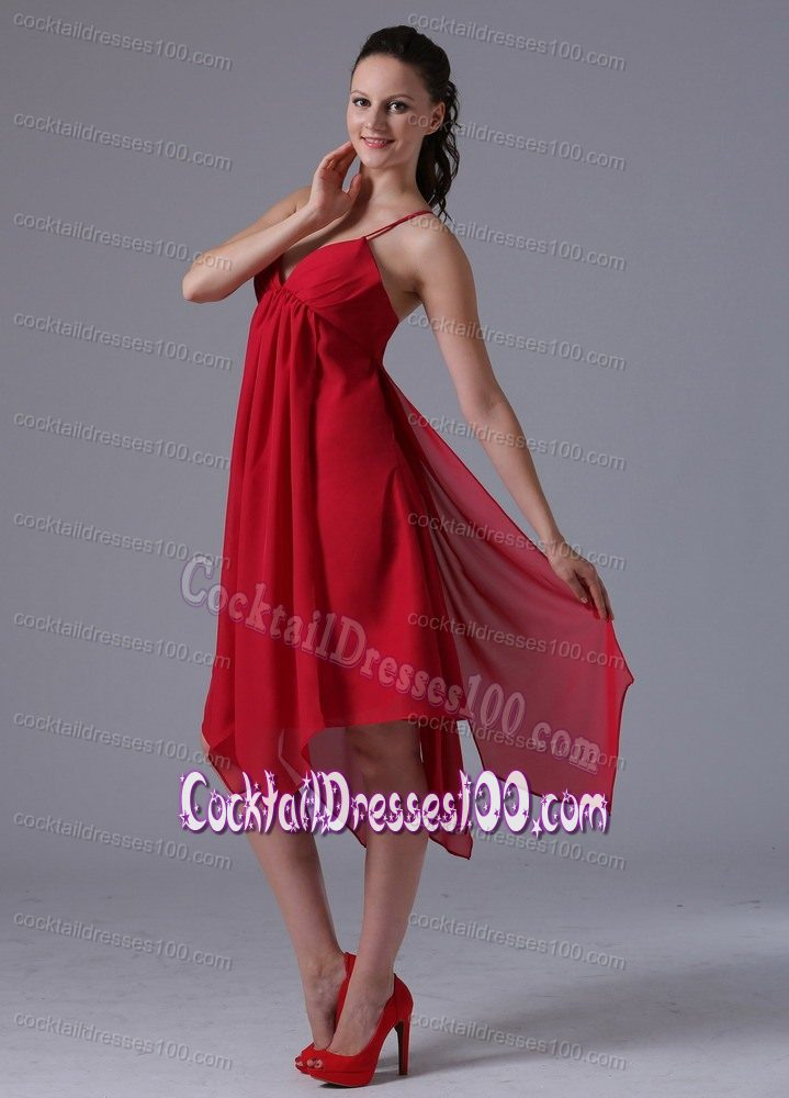 Handkerchief Hem Plus Size Red Cocktail Dress with Spaghetti Straps