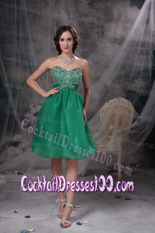 Green Sweetheart Organza Homecoming Cocktail Dress with Beading
