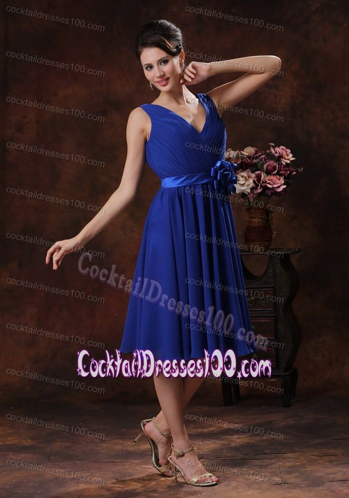 V-neck Royal Blue Mini-length Cocktail Dress with Hand Made Flowers