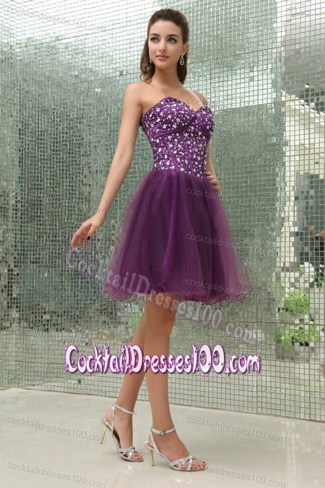 The Most Popular Rhinestone Decorate Corset Cocktail Dress in Purple
