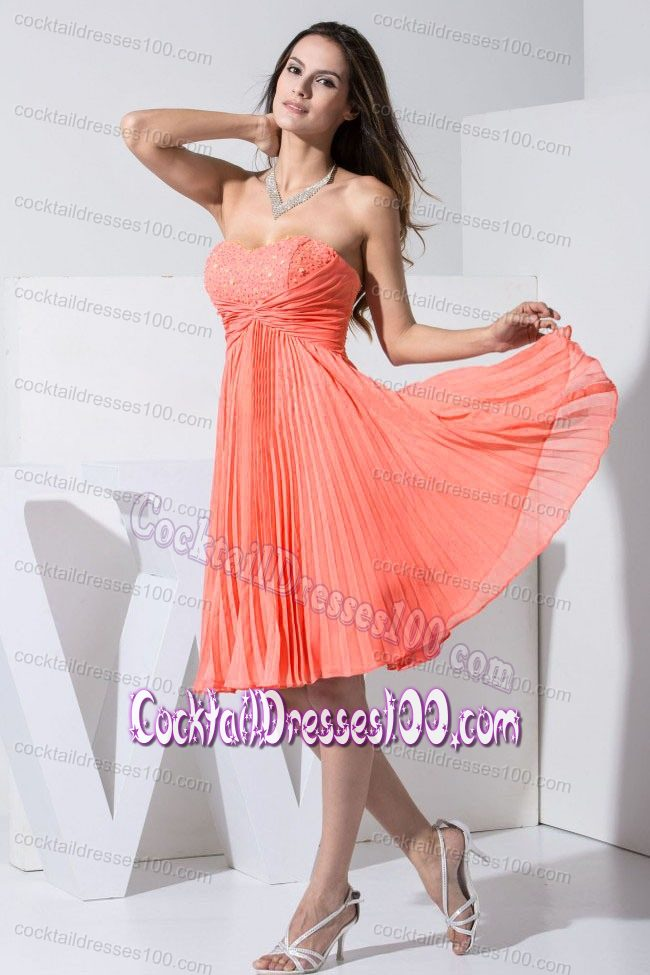 Pleated Watermelon Knee-length Cocktail Dress with Beaded Sweetheart