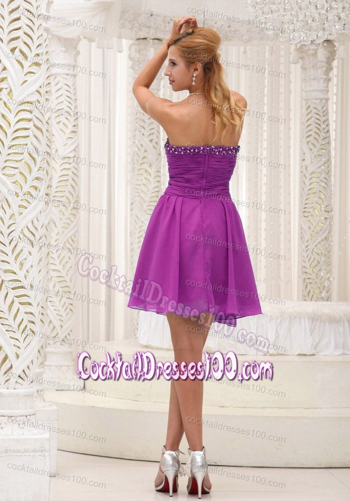 Purple Chiffon Cocktail Dress with Beaded Sweetheart and Keyhole