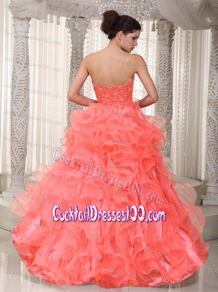 Coral Colored Sweetheart Beaded High-low Cocktail Dress with Ruffles