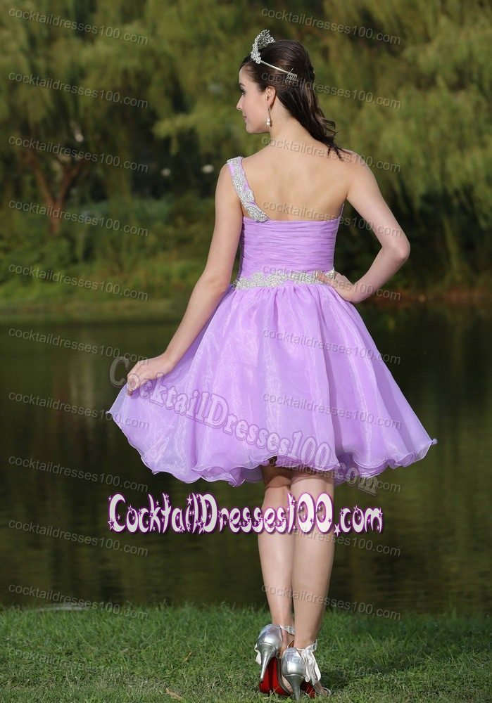 One Shoulder Knee-length Beaded Prom Cocktail Dress in Lavender