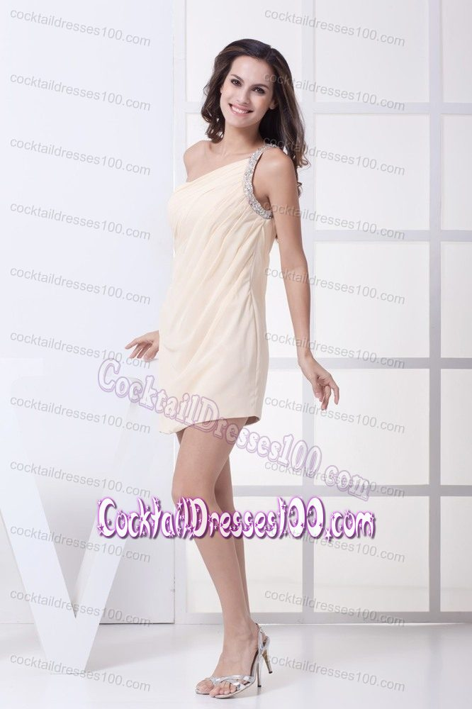 Elegant One Shoulder Short Champagne Cocktail Dress with Beading