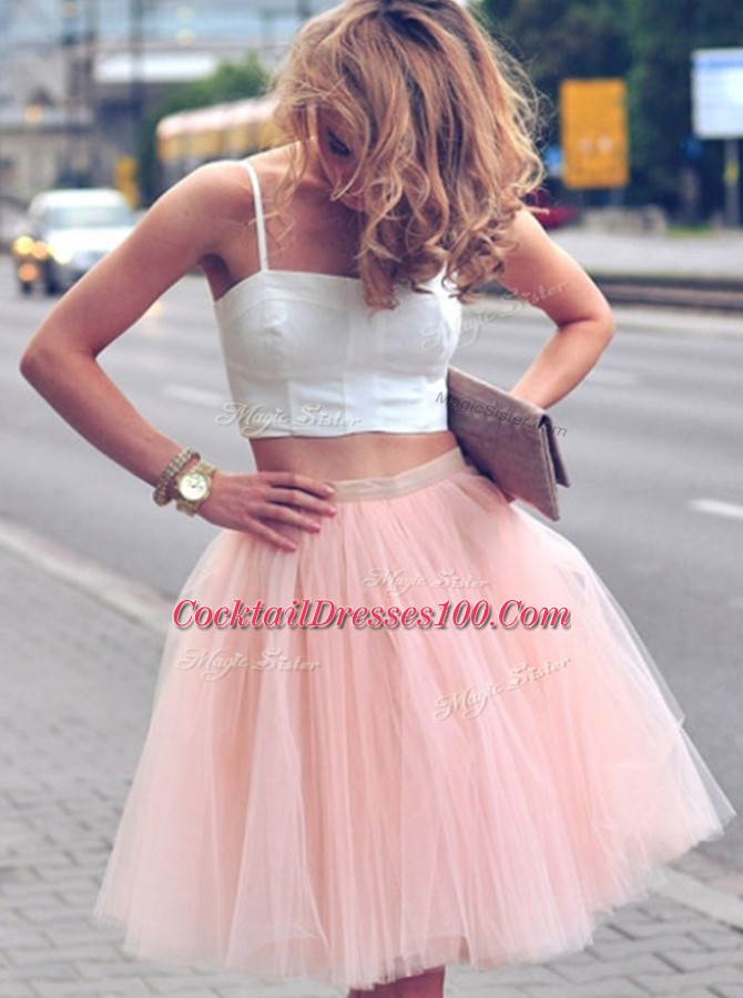 Pink And White Tulle Zipper Spaghetti Straps Sleeveless Mini Length Cocktail Dress Ruffles