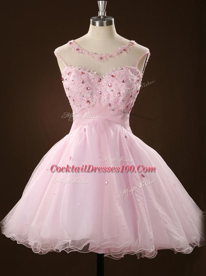 Dynamic Scoop Sleeveless Cocktail Dresses Mini Length Beading and Appliques Pink Tulle