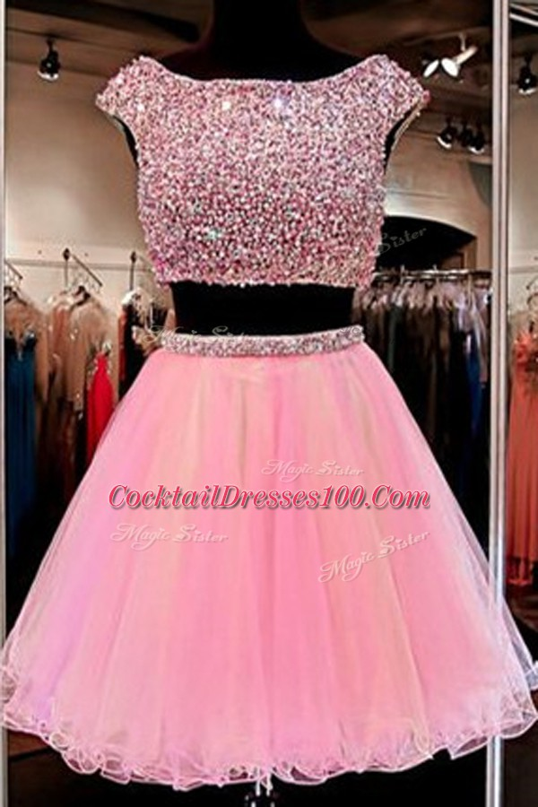 Suitable Mini Length Zipper Cocktail Dresses Pink for Party with Beading