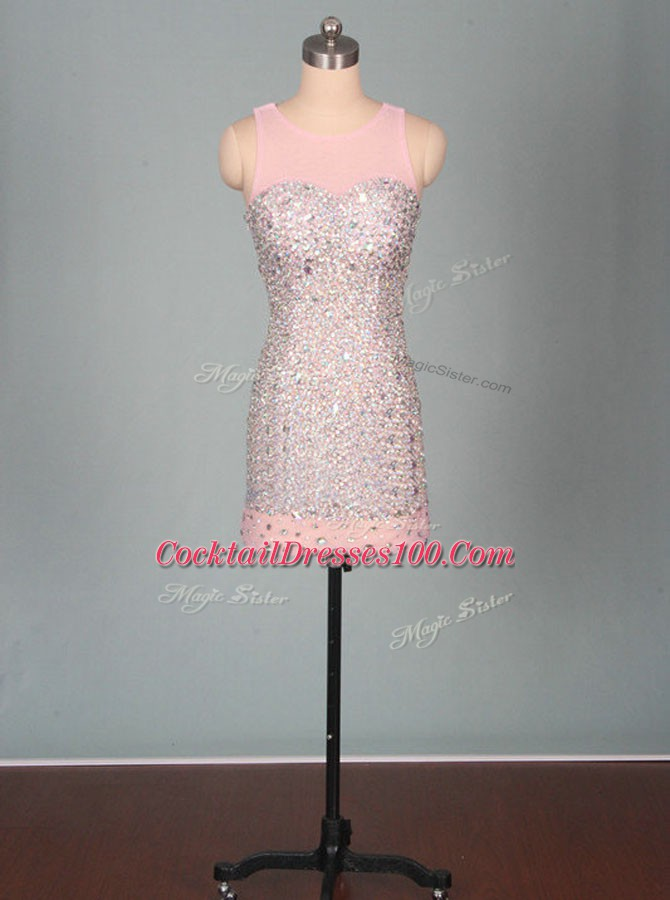 Wonderful Pink Scoop Neckline Beading Club Wear Sleeveless Zipper