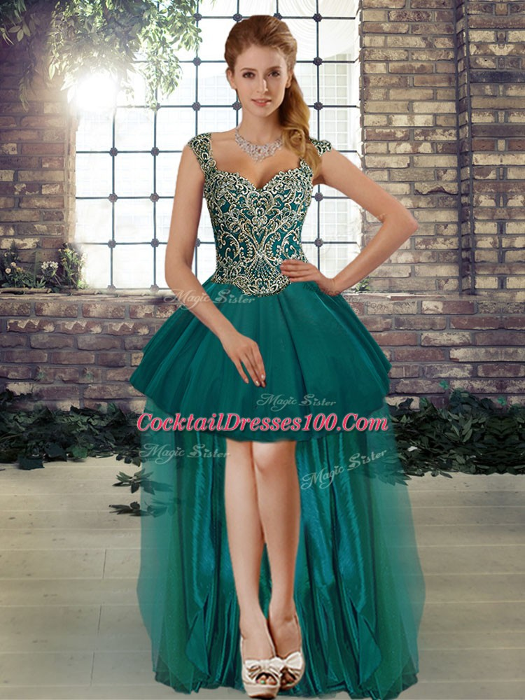 High Low Lace Up Cocktail Dress Dark Green for Prom and Party with Beading