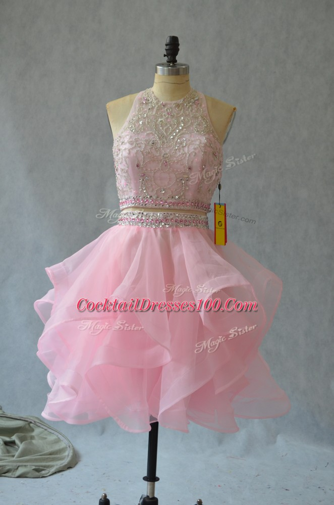 Sleeveless Organza Mini Length Backless Club Wear in Baby Pink with Beading and Ruffles