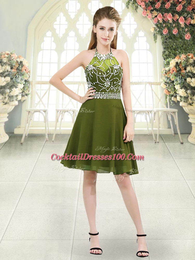 Glorious Knee Length Zipper Cocktail Dresses Olive Green for Prom and Party and Military Ball with Beading