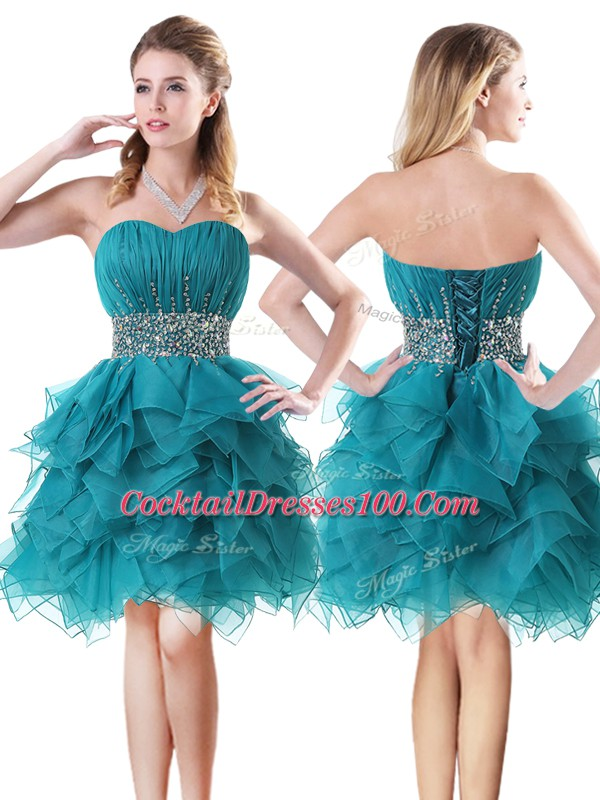 Teal A-line Sweetheart Sleeveless Organza Mini Length Lace Up Beading and Ruffles Club Wear