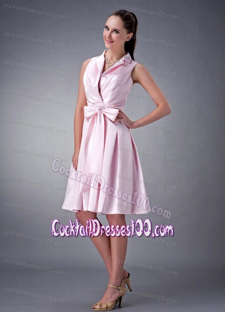 Pink Knee-length Evening Cocktail Dresses with Collar and Bow