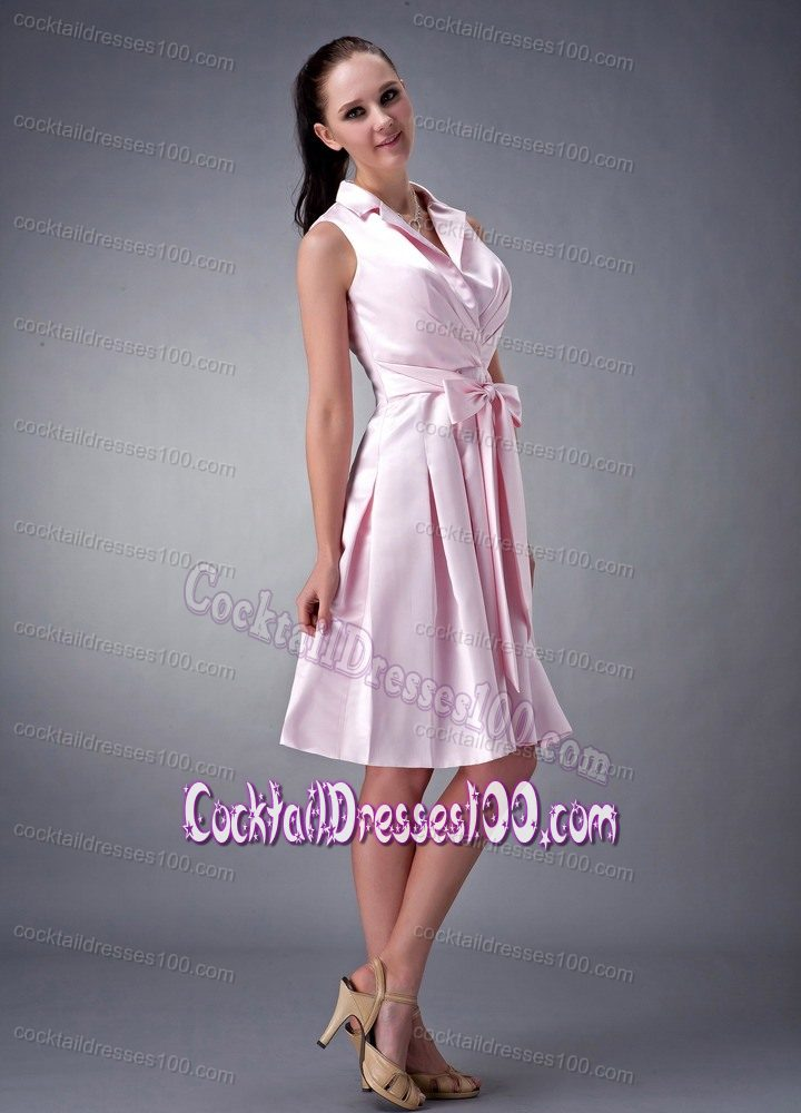 Baby Pink Knee length Evening Cocktail Dresses with Collar