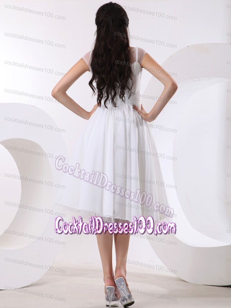 Girly Puffy Short White Cocktail Dress with Sheer Neck for Women