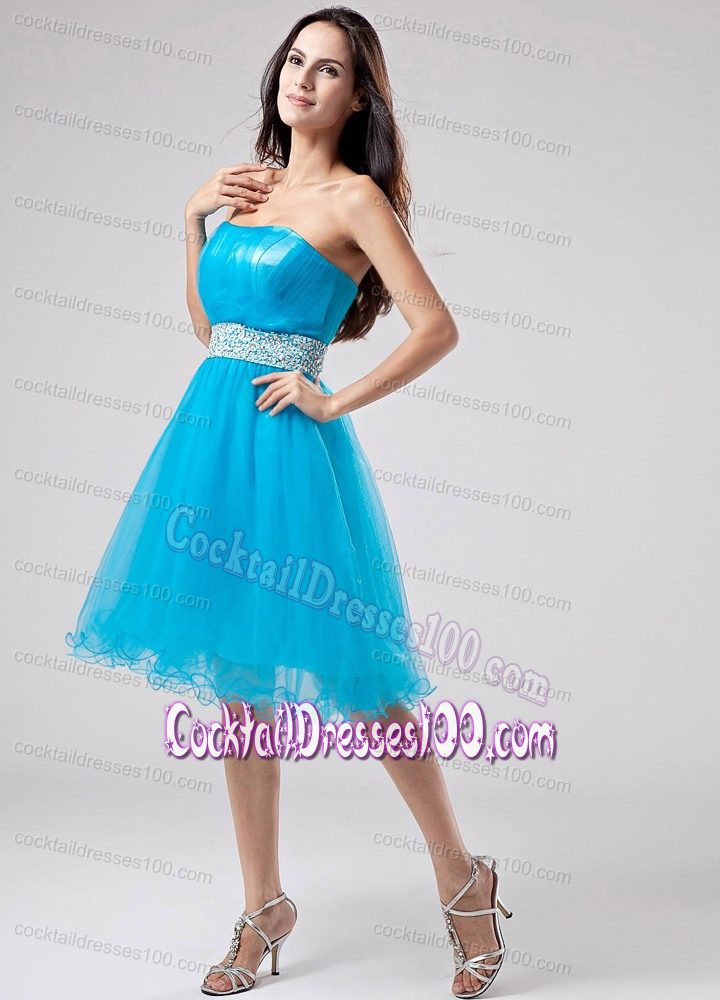Puffy Teal Short Summer Cocktail Party Dress with Beaded Waist