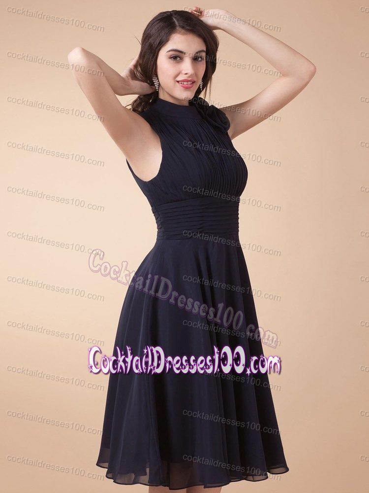 High Neck Ruche Black Cocktail Party Dress with Peekaboo Keyhole