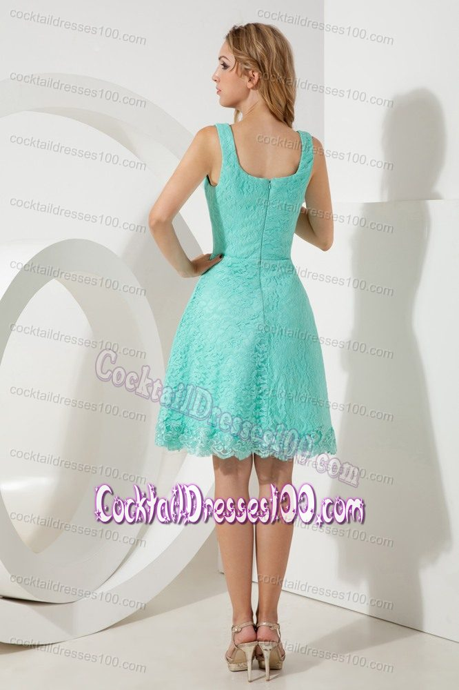 Pretty Zipper-up Square Neckline Lace Cocktail Dress in Turquoise