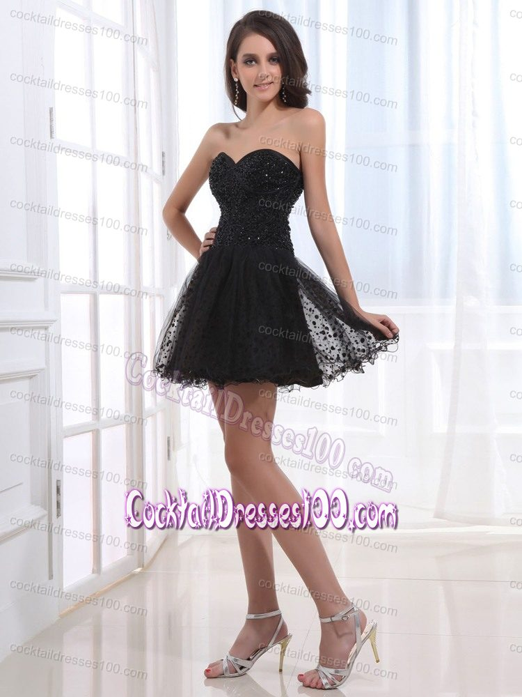Sweetheart Black Beaded Prom Cocktail Dress in Printed Tulle Fabric