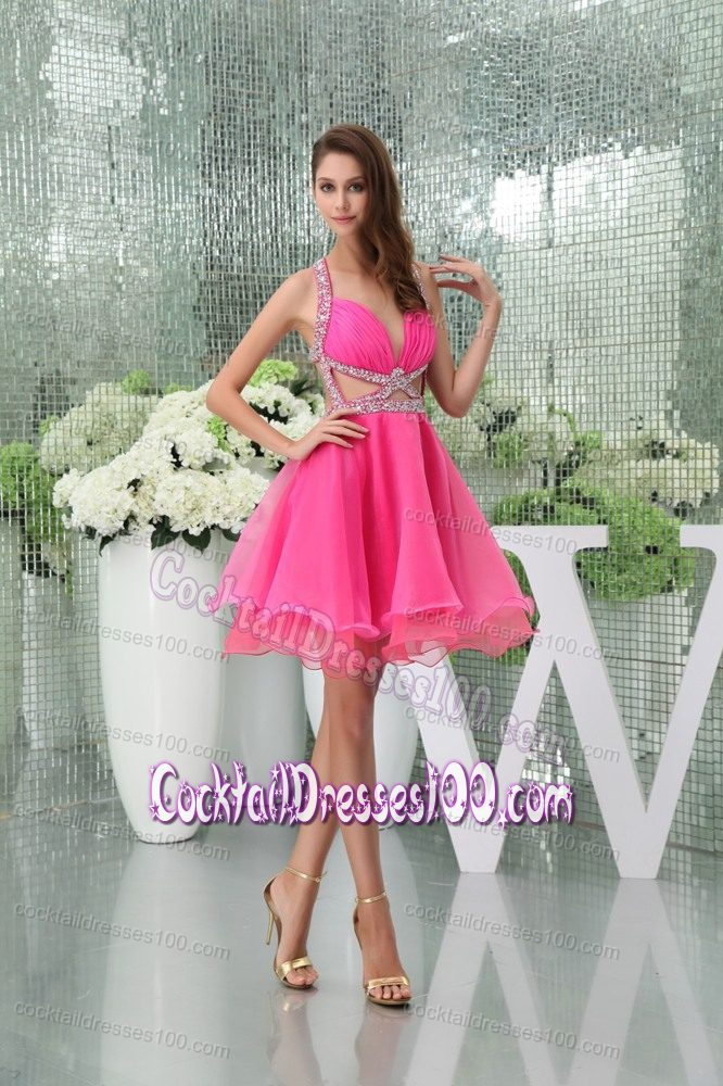 Top Hot Pink Cocktail Dress with Side Cutouts and Beading