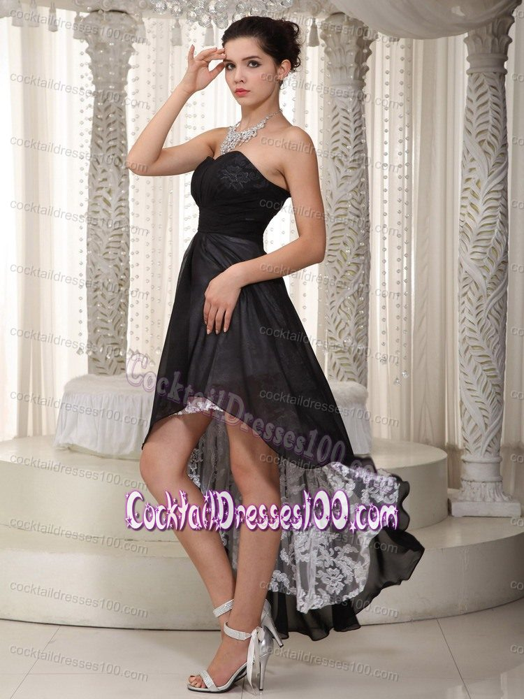 Black Strapless Lace Decorate High-low Cocktail Party Dresses