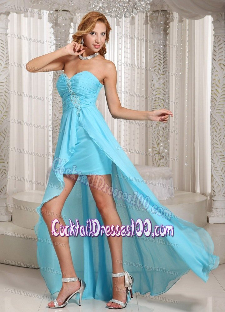 High-low Beaded Aqua Blue Prom Cocktail Dress for Women