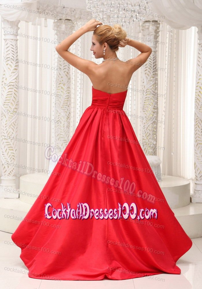 Simple Taffeta Ruched Red High-low Winter Cocktail Party Dress
