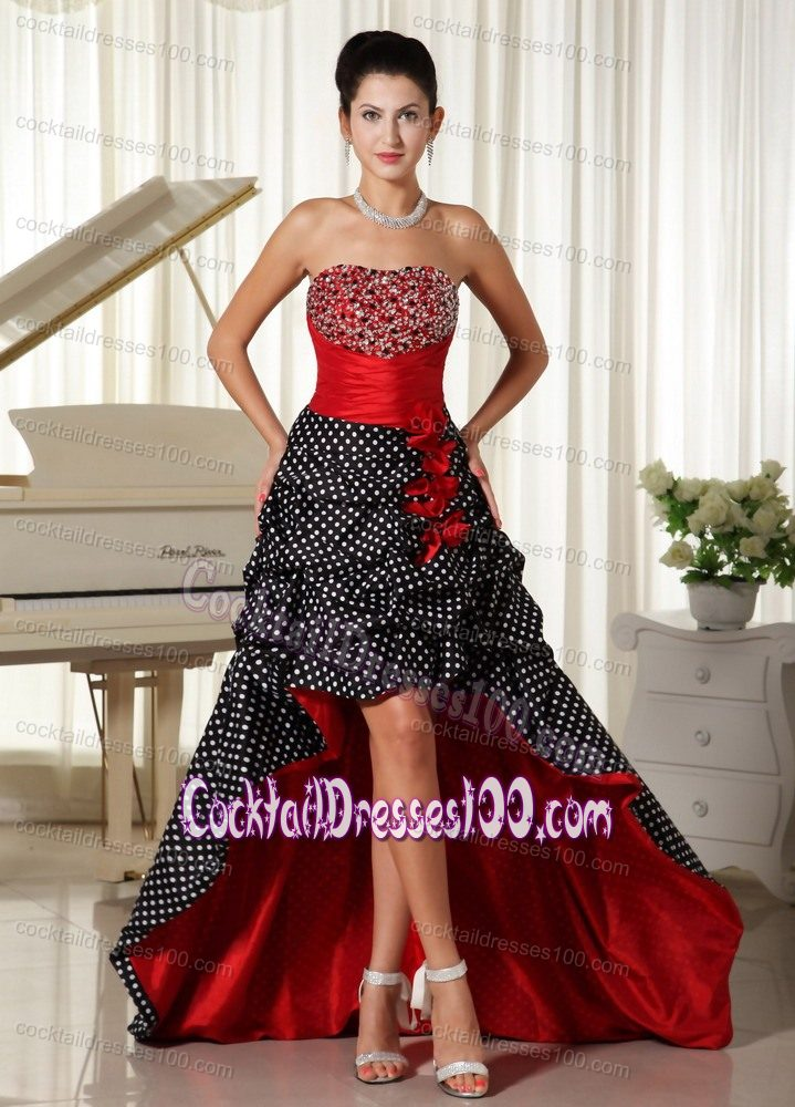 Multi-color Beaded Cocktail Dresses with Pick-ups and Polka Dot