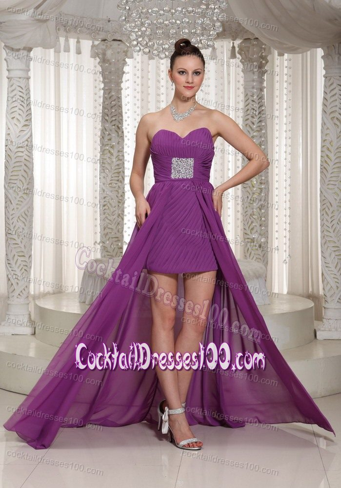 Chiffon High-low Bright Purple Prom Cocktail Dresses
