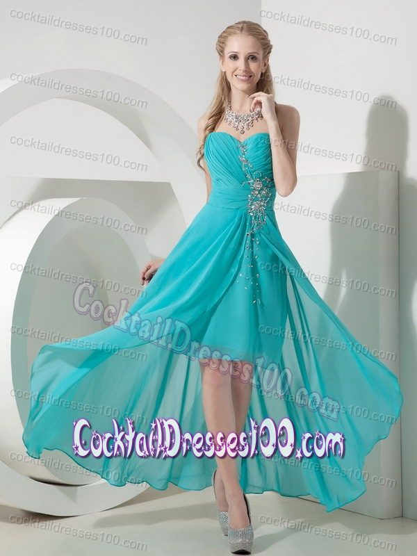 Turquoise color cocktail dress