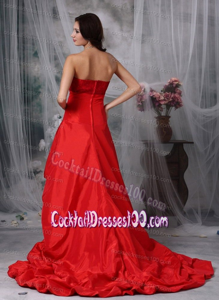 Recommended Taffeta Flower Beaded Red Cocktail Party Dresses
